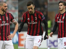 Leonardo Bonucci Nikola Kalinic André Silva Milan Serie A collage