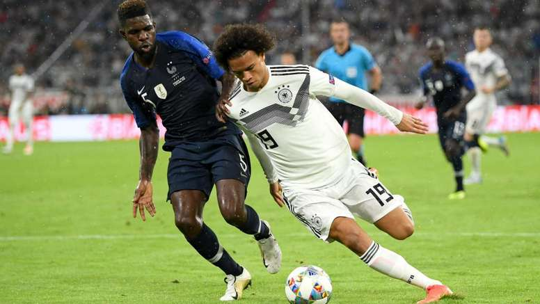 Sane in action in Germany's 0-0 draw against France in Munich. GOAL