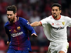 Sevilla may have to face Lionel Messi's Barcelona without Jesus Navas. GOAL