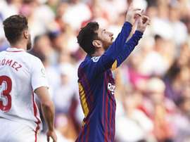 Messi scored a stunning hat-trick to sink Sevilla in La Liga. GOAL