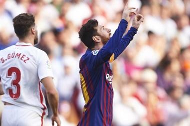 Messi scored a stunning hat-trick to sink Sevilla in La Liga. GOAL