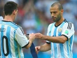 A dupla argentina que também joga junta no Barcelona: leo Messi e Javier Mascherano. Goal
