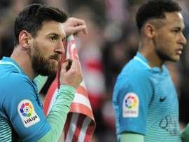 Messi e Neymar contra o Athletic. Goal