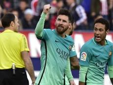 Lionel Messi et Neymar dans le match de Liga entre Atletico et Barcelone. AFP