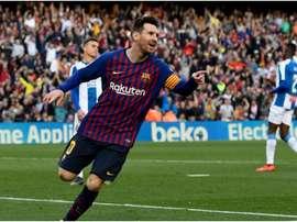 Lionel Messi against Espanyol. GOAL
