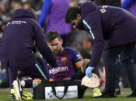 The Barcelona captain needed sideline treatment for a knock sustained during the second half. GOAL