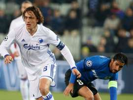 Thomas Delaney in action against Club Brugge. Goal