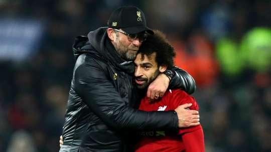 Liverpools Jurgen Klopp and Mohamed Salah