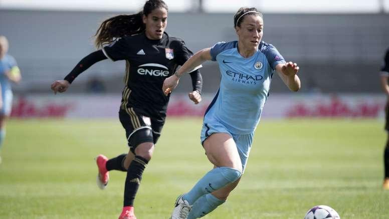 Lucia Bronze, joueuse de Manchester City, lors d'un match de Ligue des champions contre Lyon. AFP