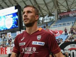 Lukas Podoslki marked his Vissel Kobe debut with a brilliant double. GOAL