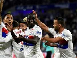 Les Lyonnais célébrant un de leur buts face à Dijon. GOAL