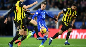 Maddison pictured scoring for Leicester against Watford. GOAL