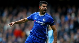 Diego Costa celebrates his goal against Manchester City. Goal