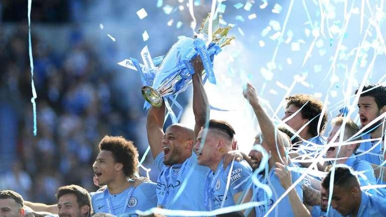 Manchester City lift yet another Premier League title. GOAL