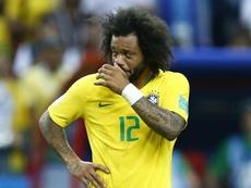 Marcelo Brazil Belgium World Cup 070718. Goal