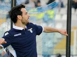 Lazio's Marco Parolo celebrating. Goal