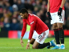 Marcus Rashford was brought on by Solskjaer, but had to go off injured shortly afterwards. GOAL