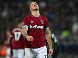 'Irons' forward Arnautovic will be missing for some time. GOAL