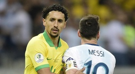 Marquinhos had an extra challenge whilst trying to defend Messi in the Copa America. GOAL