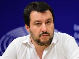 Il leader della Lega Matteo Salvini dopo il derby perso dal Milan.