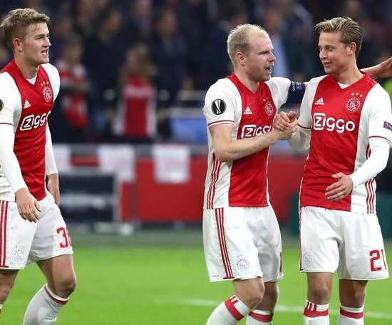 Matthijs de Ligt, Davy Klaassen and Frenkie de Jong pictured in Europa League action. GOAL