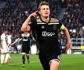Matthijs de Ligt after scoring against Juventus. GOAL