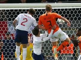 Matthijs de Ligt scored the equalising header for the Netherlands. GOAL
