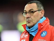 Maurizio Sarri, entraîneur du Naples dans le match de Serie A contre la Sampdoria. AFP