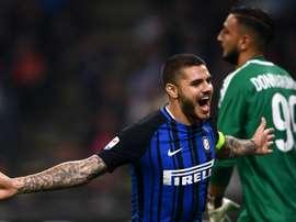 Mauro Icardi s'est offert un triplé avec contre le Milan AC. GOAL