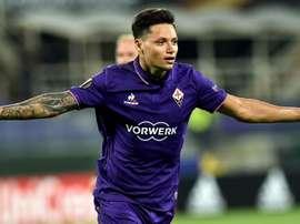Mauro Zarate during a match with Fiorentina. Goal