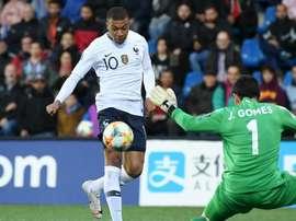 Mbappé opened the scoring for France against Andorra. GOAL