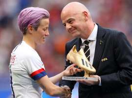 Rapinoe was presented with the Golden Boot award by Infantino. GOAL