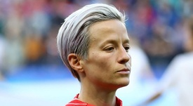 Rapinoe is refusing to sing along with the national anthem. GOAL