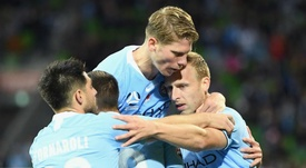 Melbourne City players celebrate their victory. GOAL