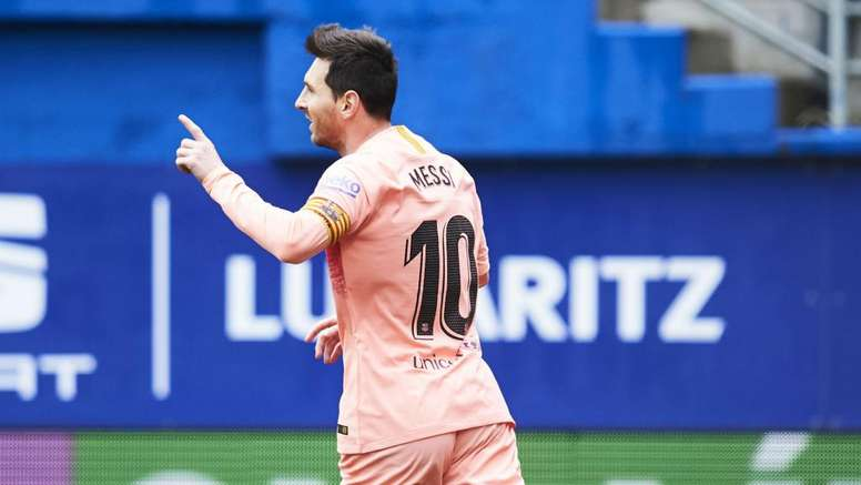 Messi scored a brace against Eibar on Sunday. GOAL