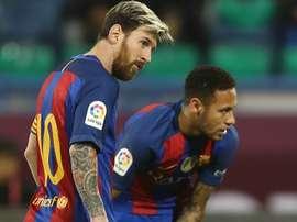 Messi et Neymar dans le match de Liga. AFP