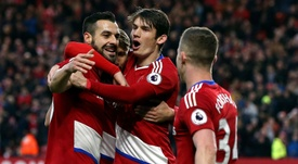 Middlesbrough celebrate a goal against Swansea. Goal