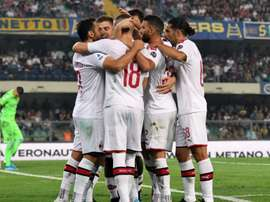 Milan celebrating Verona Serie A