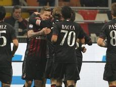 Les joueurs de Milan célèbrent leur victoire. GOAL