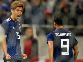 Takumi Minamino scored a brace as Japan defeated Uruguay. GOAL