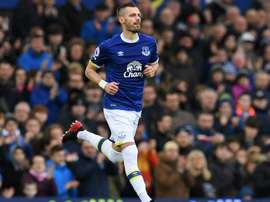 Morgan Schneiderlin dans un match de Premier League avec Everton. AFP