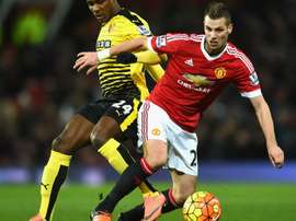 Morgan Schneiderlin dans un match de Premier League avec Manchester United. AFP