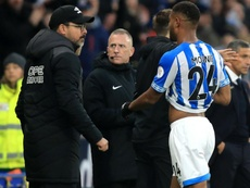Steve Mounié was controversially sent off. GOAL