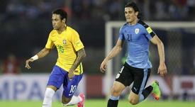 Neymar Edinson Cavani Uruguai Brasil Eliminatorias 2018. Goal