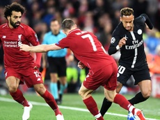 Neymar James Milner Mohamed Salah Liverpool PSG UEFA Champions League. Goal