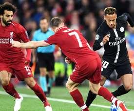 Neymar James Milner Mohamed Salah Liverpool PSG UEFA Champions League. Goal