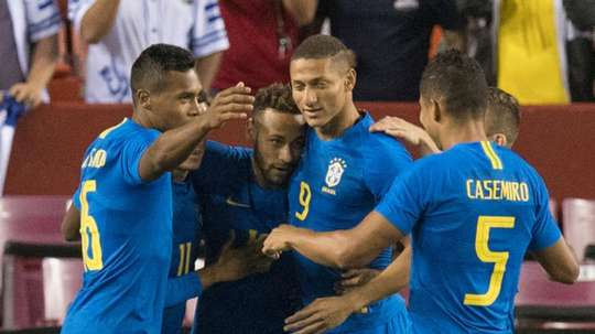 Neymar Richarlison Alex Sandro Casemiro Brazil El Salvador Friendly. Goal