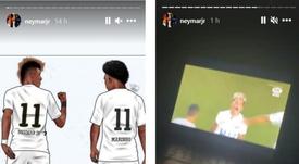 Neymar e Rodrygo vibram com a classificação do Santos. EFE