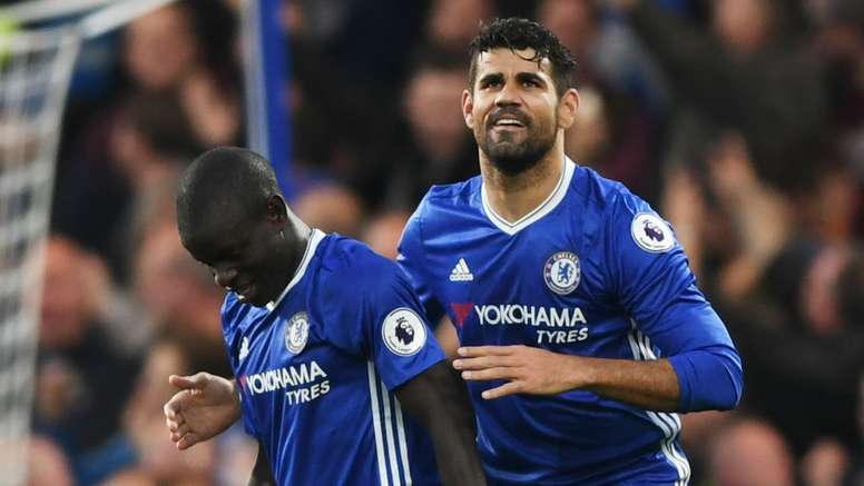 Kante (L) and Costa (R) are both suspended for the Bournemouth game. Goal