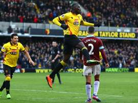 Niang after scoring for Watford on his home debut. Goal